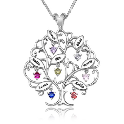 Personalized Tree-Design Family Tree Necklace With 1-7 Names And Birthstones
