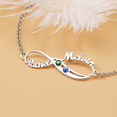 Personalized Valentine's Day Gifts Infinity 2 Names Necklace With Birthstones
