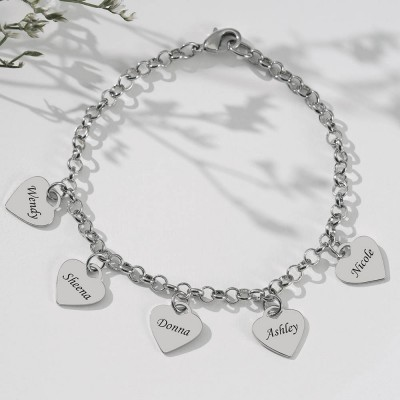 Personalized Heart Engraved Name Bracelets With 1-10 Charms Love Gifts For Her