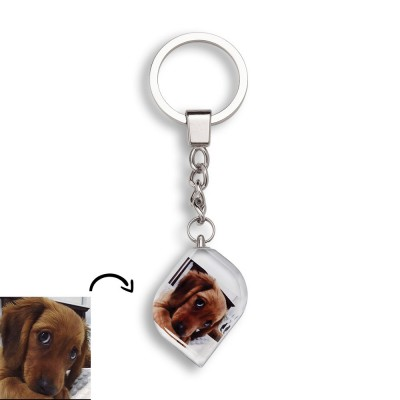 Custom Crystal Photo Keychain Personalized Picture Memorial Gifts