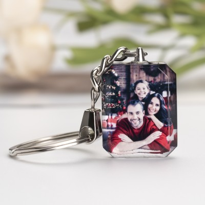 Custom Crystal Photo Keychain Personalized Memorial Family Gifts