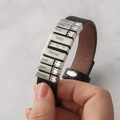 Father's Day Gifts Men's Personalized Bracelet with Kids Name for Dad