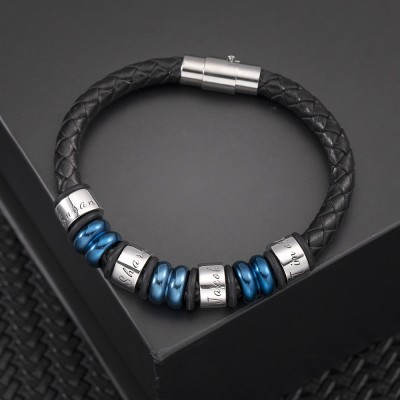 Custom Bead Braid Name Leather Bracelets With 1-10 Beads