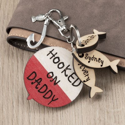 Father's Day Gift Personalized Fishing Keychain We're Hooked on Daddy Dad Grampa