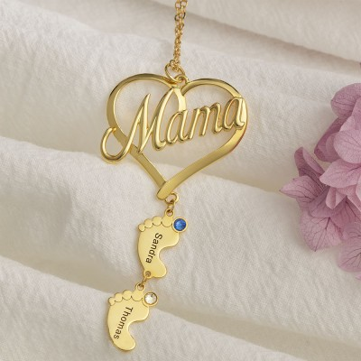 Personalized Mama Heart Baby Feet Pendant Birthstone Name Necklace with 1-10 Charms