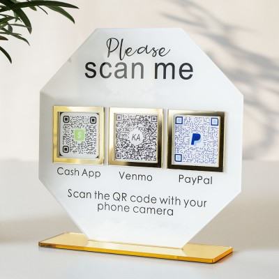 Personalized 3 QR Code Sign Business Payment & Social Media Sign