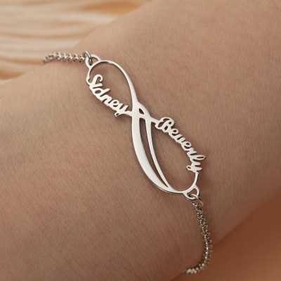 Personalized Infinity Couple Name Bracelet For Her Valentine's Day