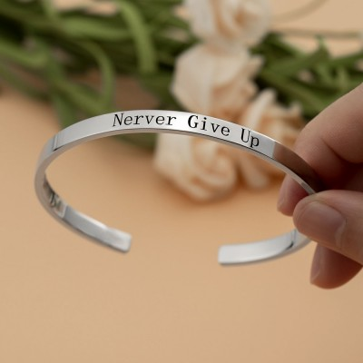 Custom Cuff Bracelet Engravable Never Give Up Open Bracelets