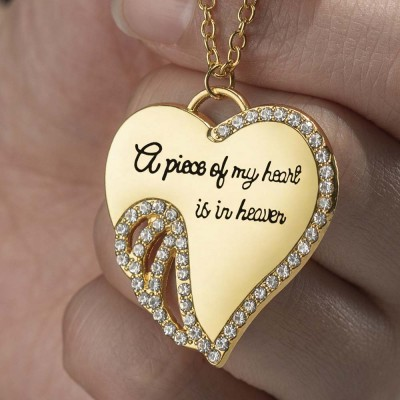 A Piece of My Heart Is In Heaven Angel Memorial Necklace
