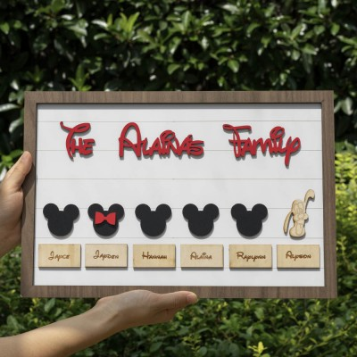 Mickey Mouse Family Personalised Name Engraving Frame Wall Decor Gift