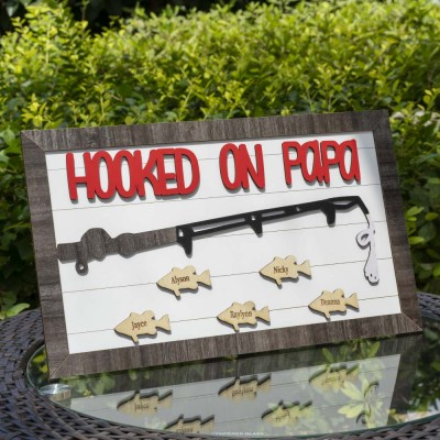 Hooked on Papa Dad Grandpa Personalized 1-10 Names Engraved Fishing Trip Gift For Him