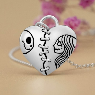 Silver Lovely Heart Jack Skellington and Sally Couple Name Engraving Necklace Valentine's Day Gifts