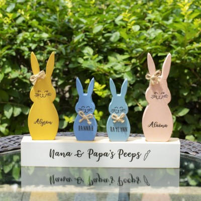 Easter Peeps Sign Personalized Engraved Name Wooden Bunny Home Decor Grandpa Grandma Gift