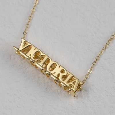 18K Gold Plating Personalized Cubic Bar Name Necklace