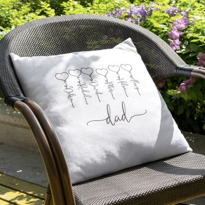 Personalized Family Pillow Engraving 1-16 Names Father's Day Gift