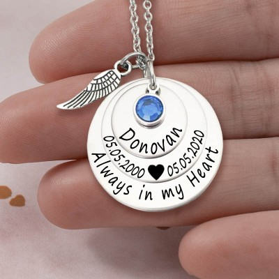 Personalized Engraved Always in my Heart Memorial Silver Necklace With Birthstone