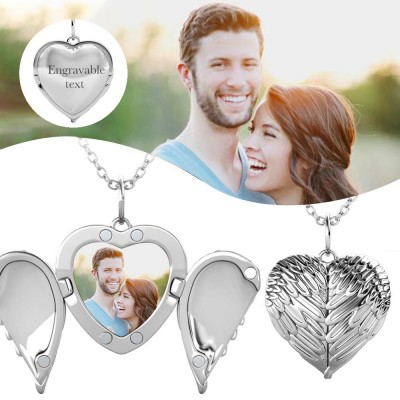Personalized Angel Wings Heart Photo Locket Necklace