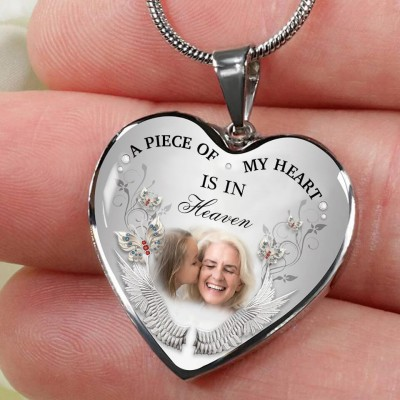 A Piece Of My Heart Is In Heaven Personalized Engraving Memorial Heart Photo Necklace
