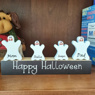 Personalized Name Engraving Ghost Pumpkins Family Block Set Home Decor Halloween Gift