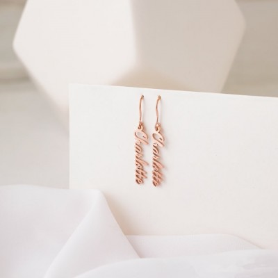 Rose Gold Personalized Chain Name Earrings
