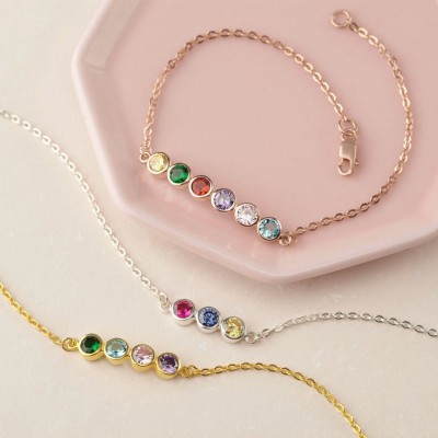 Personalized Family Birthstone Bracelets With 1-10 Birthstones