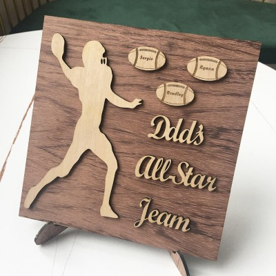 Personalized Football Plaque With 1-8 Names Engraved Father's Day Gift