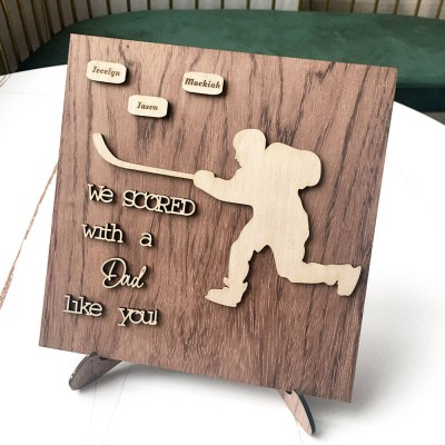 Personalized Hockey Plaque With 1-10 Names Engraved Father's Day Gift