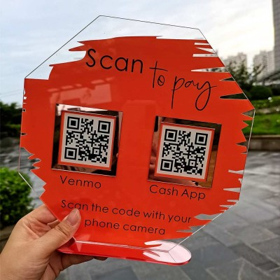 Personalized Octagon Business Double Payment QR Code Sign