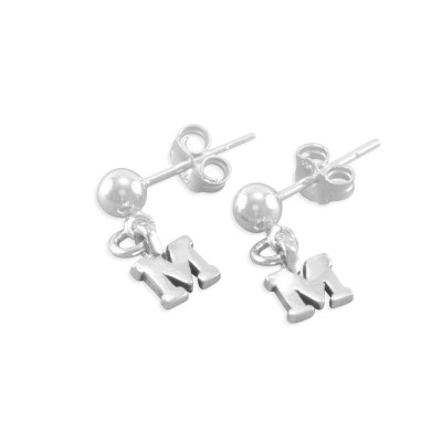 Personalized Little Girls Pearl Initial Letter Charms Earrings