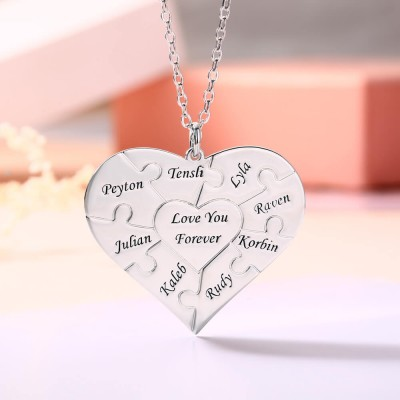 Silver Personalized Heart Puzzle 1-12 Names Necklace