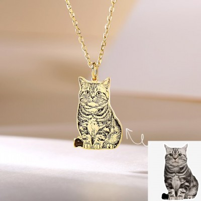 Personalized Pet Cat Dog Photo Engraved Tag Necklace