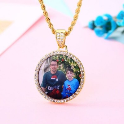 Personalized Medallions Memory Pendant  Photo Necklace For Him Father's Day Gift