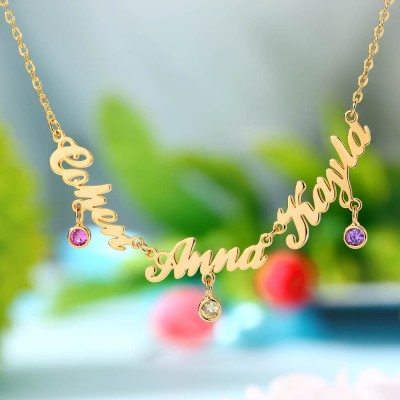 Personalized 1-7 Names Necklace With Birthstones