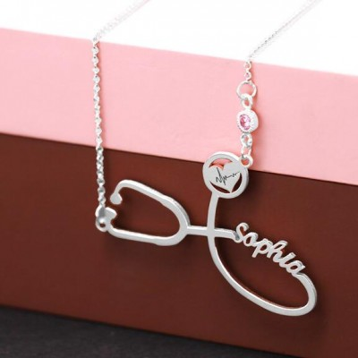 Personalized Stethoscope Name Necklace With Birthstone For Our Heroes