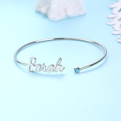 Personalized Name Bracelet With Birthstone Birthday Gifts For Her