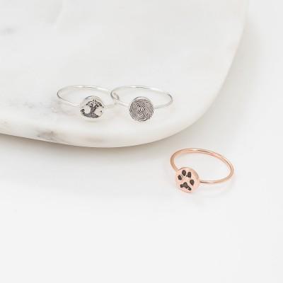 Custom Paw Print Ring   Personalized Fingerprint    Pet Lover Gift