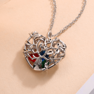 Heart Shape Family Tree Caged Pendant Necklace with 1-8 Birthstones