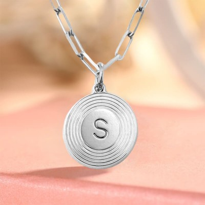 Silver Personalized Engraved Initial Round Pendant Link Chain Necklace Layering Charms Gift For Her