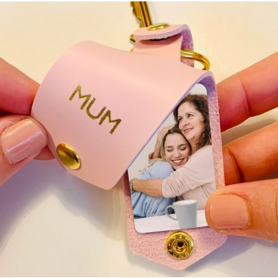 Personalized Leather Photo Keychain Gifts For Mother's Day