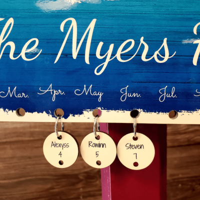 Personalized Family Name Birthday Anniversary Calendar Wall Hanging Decor Christmas Gift