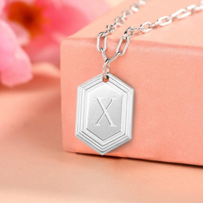 Silver Personalized Engraved Initial Pendant Link Chain Necklace Layering Charms Gift For Her