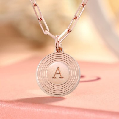 18K Rose Gold Plating Personalized Engraved Initial Round Pendant Link Chain Necklace Layering Charms Gift For Her