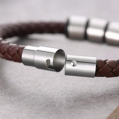 Custom 1-10 Beads Braid Name Black Leather Bracelet