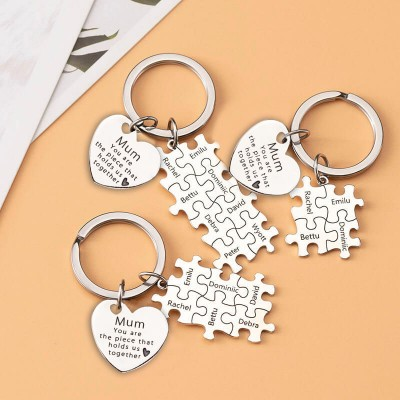 Personalized Mum Puzzle Keychain Engraving 1-20 Names