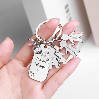 Personalized Kids Love Names Keychain Tag With 1-12 Charms and Birthstones