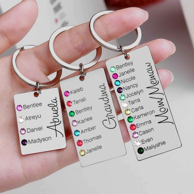 Personalized 5-9 Engraving Names with Birthstone Key Chain Gift For Monther's Day