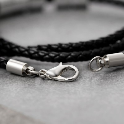Personalized 1-10 Beads Engraving Name Black Leather Bracelet Gifts for Him