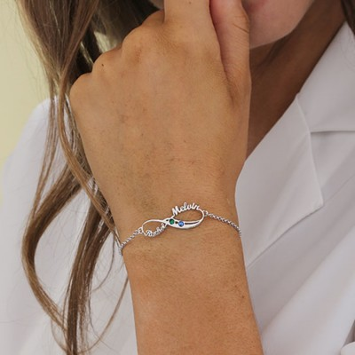 Personalized Infinity 2 Names Bracelet With Birthstones Gifts For Couple