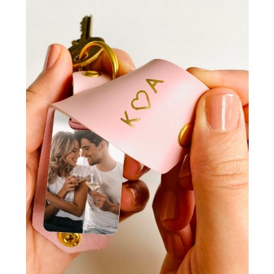 Personalized Leather Photo Keychain Gifts For Couple Girlfriend