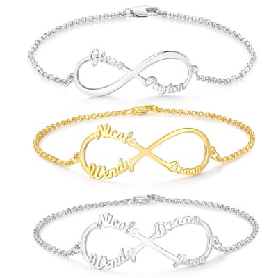 Personalized Infinity Names Bracelet With 1-4 Names